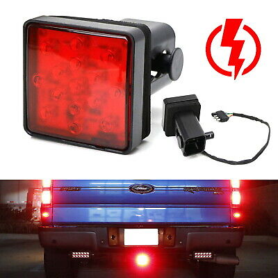 Red Lens 15-LED Tow Hitch Receiver Strobe Brake Light For Truck SUV 2-Inch Hole