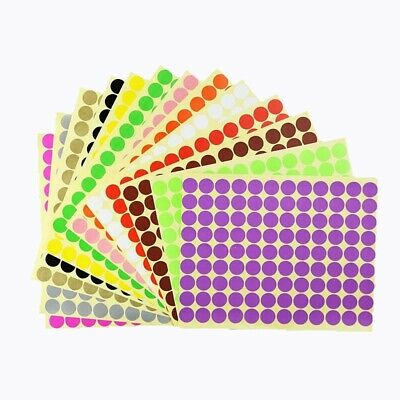 [XM] Multicolor Dot Sticker Paper Tag/Label 6mm-100mm Size 12 Colors