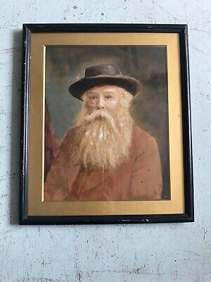 Antique Early 20th Century Male Portrait Hand Painted Coloured Photo. Painting.