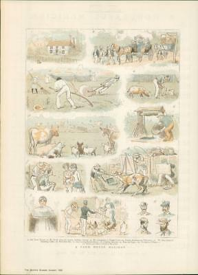 1885 ORIGINAL Antique Print - Farm House Holiday PIgs Geese Farmers Cattle (305)