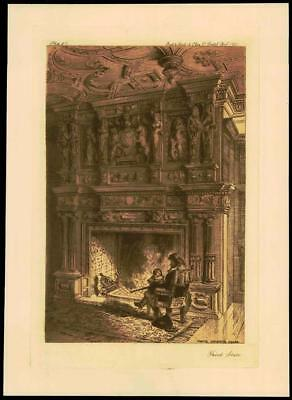 1887 - Original Antique Etching BRISTOL MANTEL LANGTON'S HOUSE WELSH BACK (47)