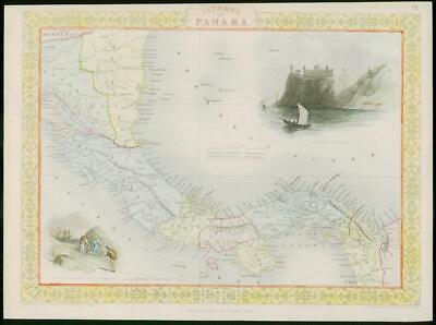 "1850 - Original Antique Map of ""ISTHMUS OF PANAMA"" by TALLIS FULL COLOUR (46)"