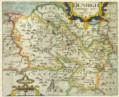 1607 - RARE 1st Edition Antique Map WALES DENBIGHSHIRE by Saxton Kip/Hole