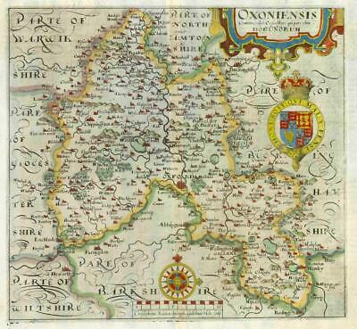 1607 - RARE 1st Edition Original Antique Map OXFORDSHIRE by Saxton Kip/Hole