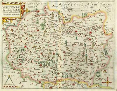 1607 - RARE 1st Edition Original Antique Map WILTSHIRE by Saxton Kip/Hole