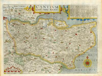 1607 - RARE 1st Edition Original Antique Map KENT CANTIUM by Saxton Kip/Hole