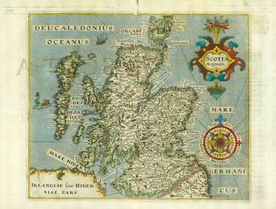 1607 - RARE 1st Edition Original Antique Map of SCOTLAND by Saxton Kip/Hole