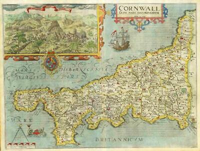 1607 - RARE 1st Edition Original Antique Map CORNWALL by Saxton Kip/Hole