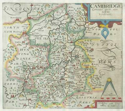 1607 - RARE 1st Edition Antique Map CAMBRIDGESHIRE by Saxton Kip/Hole