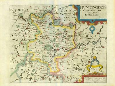 1607 - RARE 1st Edition Antique Map HUNTINGDONSHIRE by Saxton Kip/Hole