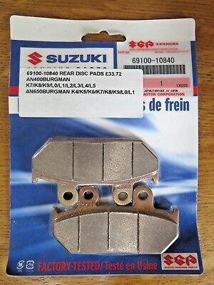SUZUKI NOS Rear Brake / Disc Pads 69100-10840 AN400 AN650 BURGMAN 2006-2011