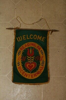 Vintage Lancaster County Banner Flag WELCOME READING PA BICENTENNIAL 1948