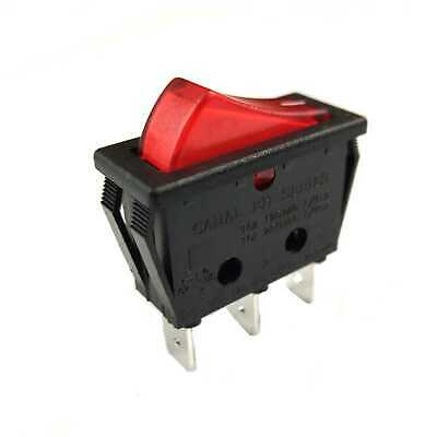 Metal Rocker Switch Red Illuminated Double Open Rectangular 16A 125/250VAC Small