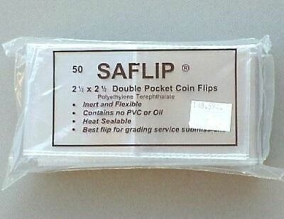 Saflip 2.5x2.5 Double Pocket PCGS Submission Coin Flips Pack of 50 Museum Grade