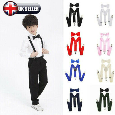 UK Cute Suspender and Bow Tie Set for Baby Toddler Kids Boys Girls Children