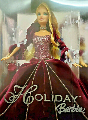 Barbie Holiday Special Edition Burgundy Dress Silver Doll 2002 New In Box NIB