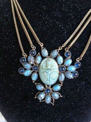 Vintage Egyptian Art Deco Molded Glass Scarab Sapphire Cab Festoon Necklace