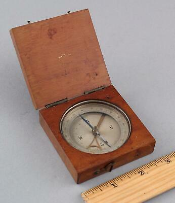 Antique French Combination Compass & Inclinometer, Mahogany Case