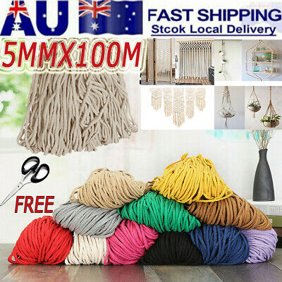 5mm 100m Natural Cotton Craft Macrame Artisan Rope Craft String Twisted Cord