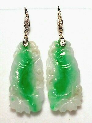 Genuine Grade A jadeite natural carved jade dangle earrings, diamonds,solid 14kw