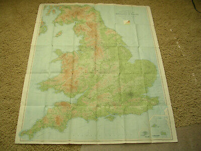 """England & Wales Large 34"""" X 42"""" 1942 Road Map"""