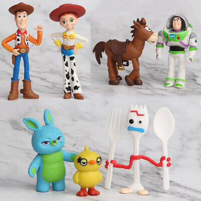 Toy Story 4 Woody Lightyear Rex Alien Forky Buzz Bunny Figure Cake Topper 7Pcs
