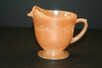 Vintage Fire King Ware Creamer Peach Luster Laurel Leaf 3 1/2 inches tall