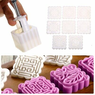 75g Square Baking Mooncake Mold Pastry Biscuit Cake Mould Fower w/h8 Stamps