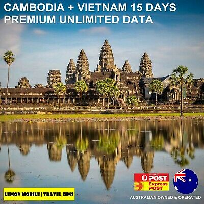 15 Days Cambodia/Vietnam Travel SIM Card - VIP Unlimited Data - No speed cap!
