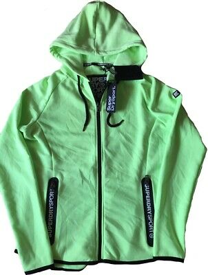 Superdry Women Hoodies SD Sport Gym Tech Luxe Zip Hoodie Electric Lime Small