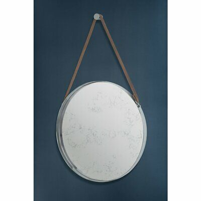 Large Round Luxury Wall Mirror Brushed Steel Aluminium Antique leather strap
