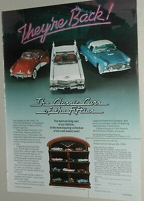 1988 Franklin Mint advertisement, 1:43 CLASSIC CARS OF THE FIFTIES set Canadian