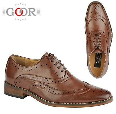 BOYS FORMAL SMART Wedding Lace Up Brown Brogues Shoes Size 10 11 12 13 1 2 3 4 5