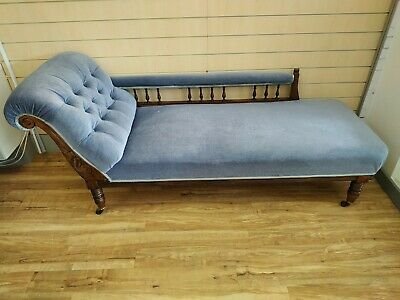 Edwardian Chaise Longue Antique Day Bed Sofa Blue Dralon Upholstery Vintage