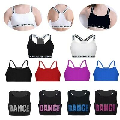 Kids Girls Sports Yoga Tanks Bra Crop Top Dance Gym Vest Camisole Stage Workout
