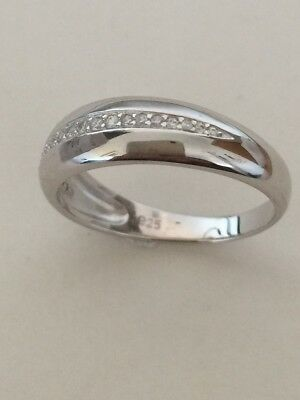 Real 925 Solid Sterling Silver Cubic Zirconia Half Eternity Ring Size Options