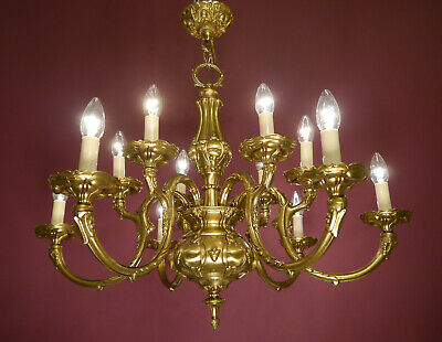 Shiny Brass Baroque Rococo Chandelier Old Ceiling Lamp Fine 12 Light Used Lustre