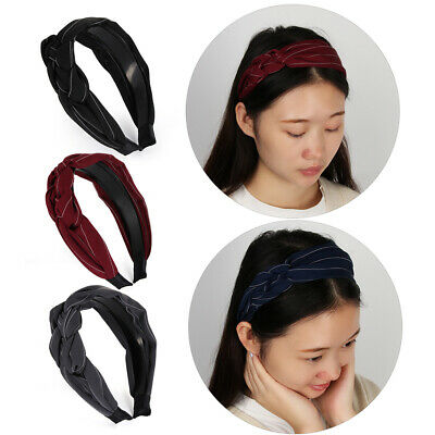 Vintage Flower Wide Hair Band Bowknot Hairband  Twist Turban Knotted headband