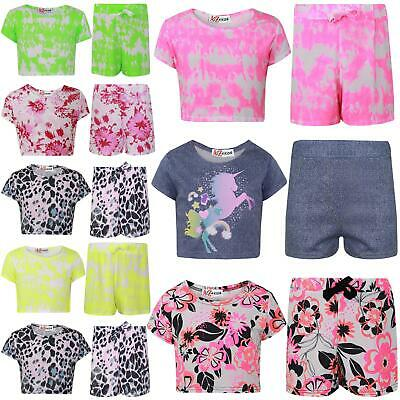 Kids Girls Crop Top & Shorts Floral Tie Dye Leopard Unicorn Summer Outfit Sets