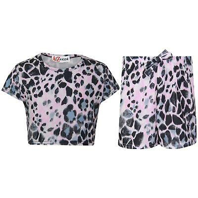 Kids Girls Crop Top & Shorts Leopard Fashion Summer Outfit Short Sets 7-13 Years