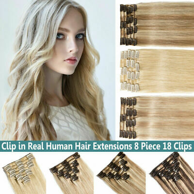 Natural Remy UK Clip In Thick Full Head Human Hair Extensions  Brown Blone UK F9
