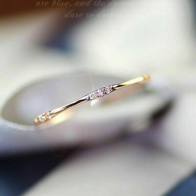 14K Gold 9Tiny Topaz Pieces Exquisite Small Fresh Lady Engagement Ring Size 5-10