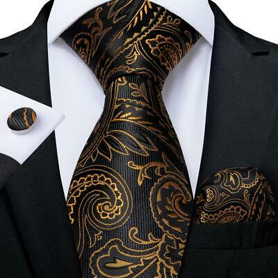 UK Black Gold Paisley Silk Necktie Mens Tie Set Hanky Cufflinks Wedding Party