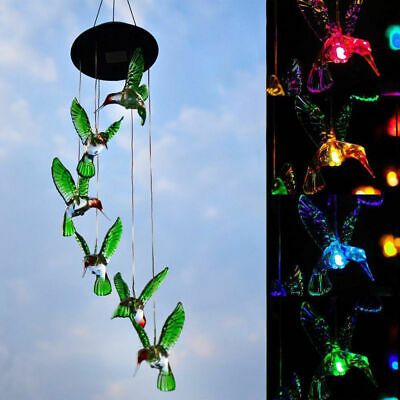 Solar Powered LED Hummingbird Hanging Windchime Light for Garden Yard Decoration