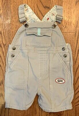 Janie & Jack Baby Boy Shortall Overall Romper Sz 6-12m Gray Camper Camping Route