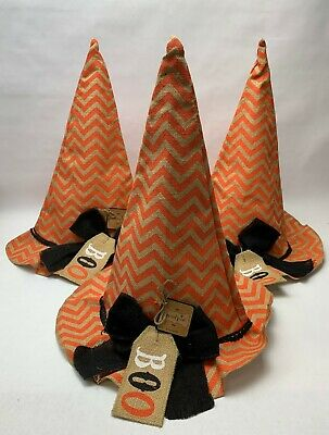 (Set of 3) Mud Pie Canvas Large Witch Hat Halloween Decoration #4265174 - NEW