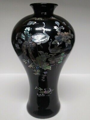 """Asian Oriental Ornate Mother of Pearl Black Lacquer Resin Plum Vase 14"""""""
