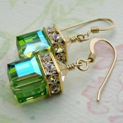 Women Fashion 14K Gold Plating Natural Gemstone Green Cube Earrings Jewelry