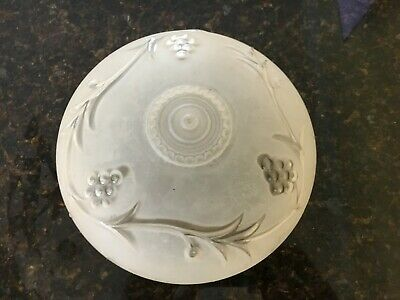 Vintage Frosted & Pressed Glass Decorative Ceiling Light Fixture Globe Shade 7""