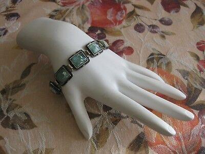 Sterling Bracelet Made in Israel w/ Ancient Roman Glass / 25 Grams/ Larger Wrist